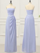 Charming Strapless Sleeveless Prom Dresses Floor Length Ruching and Belt Lavender Chiffon