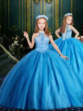 Halter Top Sleeveless Lace Up Floor Length Beading and Sequins Flower Girl Dresses for Less