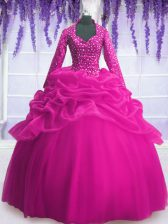 Fuchsia Ball Gowns Organza V-neck Long Sleeves Sequins and Pick Ups Floor Length Zipper Quinceanera Gown
