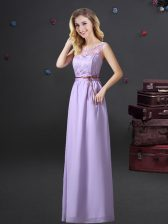 Modest See Through Chiffon Scoop Sleeveless Lace Up Lace and Appliques and Belt Court Dresses for Sweet 16 in Lavender