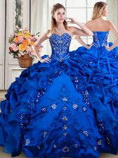 Cute Royal Blue Sleeveless Floor Length Beading and Embroidery and Pick Ups Lace Up Quinceanera Gown