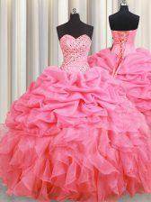 Ideal Rose Pink Lace Up Halter Top Beading and Ruffles and Pick Ups Quinceanera Dresses Organza Sleeveless