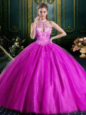 Halter Top Fuchsia Tulle Lace Up High-neck Sleeveless Floor Length 15th Birthday Dress Beading and Lace and Appliques