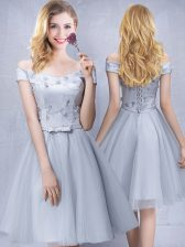 Grey A-line Off The Shoulder Sleeveless Tulle Knee Length Lace Up Appliques and Belt Quinceanera Court Dresses