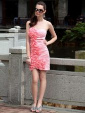 Edgy Chiffon Sleeveless Knee Length Evening Dress and Ruching and Hand Made Flower
