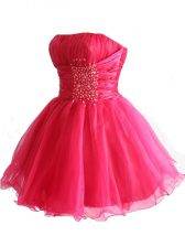 Sequins Hot Pink Sleeveless Organza Lace Up Prom Dress for Prom and Party