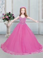 Scoop Beading Pageant Gowns For Girls Hot Pink Lace Up Sleeveless Floor Length