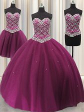 Best Selling Three Piece Sequins Ball Gowns Sweet 16 Dress Fuchsia Sweetheart Tulle Sleeveless Floor Length Lace Up