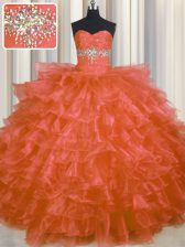 Perfect Orange Red Sweetheart Neckline Beading and Ruffled Layers Sweet 16 Quinceanera Dress Sleeveless Lace Up