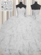 Charming Visible Boning Sweetheart Sleeveless Organza Ball Gown Prom Dress Beading and Ruffles and Sashes ribbons Lace Up