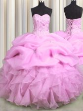 Wonderful Visible Boning Sleeveless Floor Length Beading and Ruffles and Pick Ups Lace Up Sweet 16 Dresses with Lilac