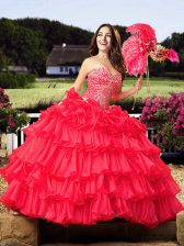 Glorious Coral Red Sweetheart Neckline Beading and Ruffled Layers Quinceanera Dress Sleeveless Lace Up