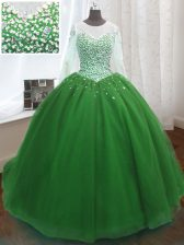 Captivating Scoop Green Long Sleeves Beading and Sequins Lace Up Ball Gown Prom Dress