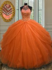 Customized Orange Red Lace Up Halter Top Beading Quinceanera Dress Tulle Sleeveless