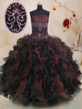 Multi-color Organza Lace Up 15 Quinceanera Dress Sleeveless Floor Length Beading and Ruffles