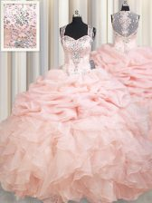 Decent Straps Pink Organza Zipper Ball Gown Prom Dress Sleeveless Brush Train Beading and Ruffles and Pick Ups