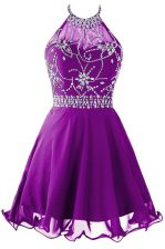 New Style Halter Top Mini Length A-line Sleeveless Purple Dress for Prom Zipper