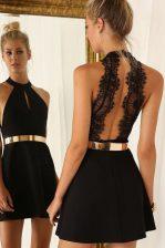 Artistic A-line Black Halter Top Satin Sleeveless Mini Length Backless
