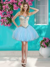 Gorgeous Sleeveless Mini Length Beading and Ruffles Lace Up Prom Dress with Baby Blue