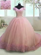 Fancy Off the Shoulder Short Sleeves Court Train Lace Up With Train Hand Made Flower Sweet 16 Dress