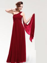 Sumptuous One Shoulder Wine Red Zipper Prom Party Dress Ruching Sleeveless Floor Length