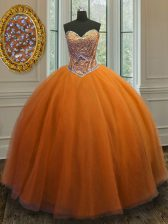 Popular Sleeveless Lace Up Floor Length Beading Quinceanera Dress