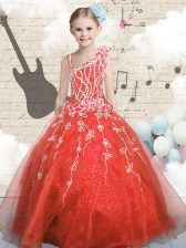 Orange Red Asymmetric Neckline Appliques Girls Pageant Dresses Sleeveless Lace Up
