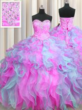 Multi-color Sleeveless Floor Length Beading and Appliques and Ruffles Lace Up 15 Quinceanera Dress