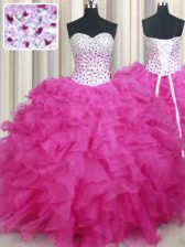 Glorious Halter Top Hot Pink Ball Gowns Beading and Ruffles Quinceanera Dress Lace Up Organza Sleeveless Floor Length