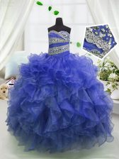 Blue Sleeveless Organza Lace Up Little Girls Pageant Dress Wholesale for Party and Wedding Party