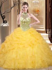 Halter Top Sleeveless Floor Length Beading and Ruffles and Pick Ups Lace Up Ball Gown Prom Dress with Yellow
