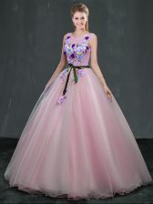 Sweet Scoop Sleeveless Lace Up Floor Length Appliques Quinceanera Gowns