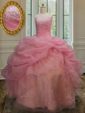Fabulous Sleeveless Lace Up Floor Length Embroidery and Pick Ups Quinceanera Dress