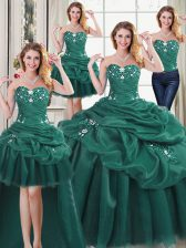 Four Piece Sweetheart Sleeveless Ball Gown Prom Dress Floor Length Beading and Ruffles and Pick Ups Dark Green Organza