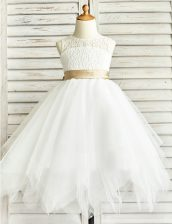 Scoop White Tulle Zipper Flower Girl Dresses for Less Sleeveless Floor Length Lace and Ruffled Layers and Sashes ribbons