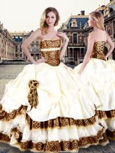 Superior Sleeveless Taffeta Floor Length Lace Up 15 Quinceanera Dress in Champagne with Pick Ups and Hand Made Flower