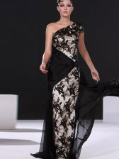 One Shoulder With Train Side Zipper Prom Gown Black for Prom and Party with Lace Brush Train
