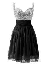 Fancy Black Chiffon Zipper Straps Sleeveless Knee Length Prom Party Dress Beading