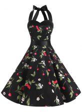 Halter Top Sleeveless Zipper Prom Gown Multi-color Chiffon