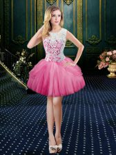 Fantastic Scoop Clasp Handle Mini Length Hot Pink Dress for Prom Tulle Sleeveless Lace