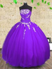 Attractive Purple Tulle Lace Up 15 Quinceanera Dress Sleeveless Floor Length Appliques and Ruching
