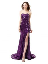 Simple Mermaid Purple Prom Dresses Prom with Beading and Ruffles Sweetheart Sleeveless Brush Train Side Zipper