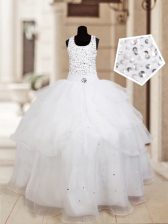 Modern White Halter Top Neckline Beading and Ruffled Layers Flower Girl Dresses Sleeveless Lace Up