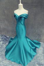 Beauteous Mermaid Teal Satin Zipper Sweetheart Sleeveless Prom Party Dress Brush Train Ruching