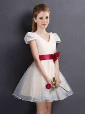 Colorful Champagne Organza Lace Up V-neck Short Sleeves Mini Length Court Dresses for Sweet 16 Lace and Hand Made Flower