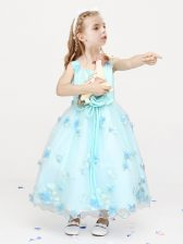 Best Straps Sleeveless Flower Girl Dresses Ankle Length Appliques and Bowknot and Hand Made Flower Light Blue Organza