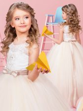 Latest Champagne Lace Up Scoop Appliques and Bowknot Flower Girl Dress Tulle Sleeveless