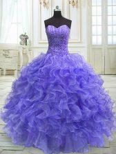 Artistic Purple Sleeveless Floor Length Beading and Ruffles Lace Up 15th Birthday Dress