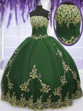 Customized Floor Length Zipper 15 Quinceanera Dress Dark Green for Military Ball and Sweet 16 and Quinceanera with Appliques