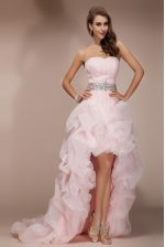 Inexpensive Baby Pink Sleeveless Organza Brush Train Zipper Prom Gown for Prom and Party